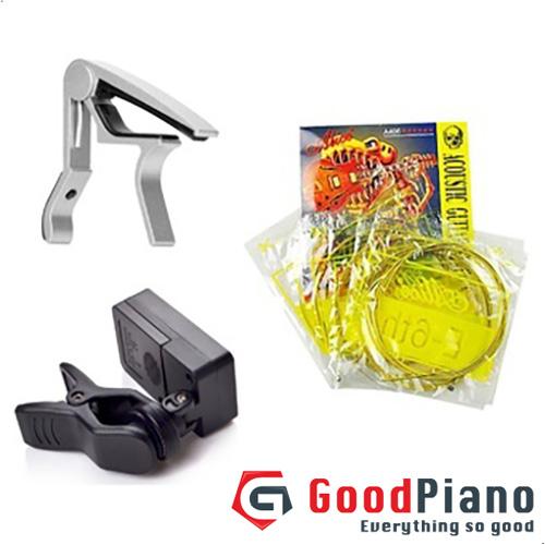 Bộ 03 phụ kiện guitar Capo Deviser PBA05SL Màu ghi + Dây đàn guitar A406 + Máy lên dây P